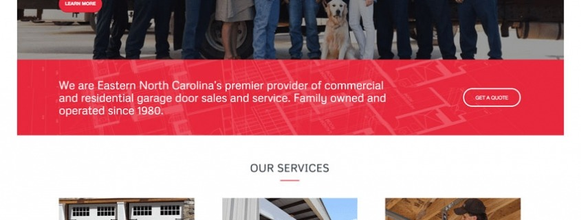Carolina Overhead Door Website Design   Eastern NC Website Design, Web  Hosting, Digital Marketing Company | Edge360 Creative